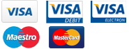 Logos for visa, visa debit and mastercard.